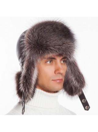 Мужская меховая шапка ушанка енот