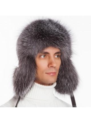 Мужская меховая шапка ушанка песец