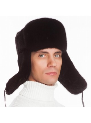 Мужская меховая шапка ушанка норка коричневая