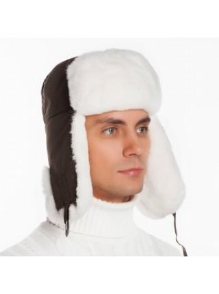Меховая шапка ушанка белая из кролика
